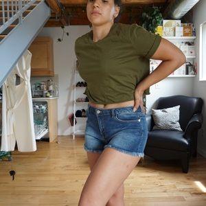 Shorts - Mid Rise Cut Off Jean Shorts